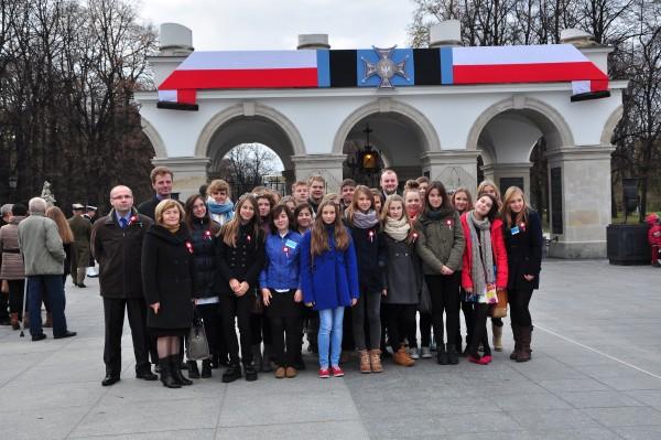 Delegacja młodzieży w Warszawie