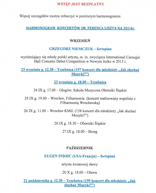 Koncert Lisztowski - Harmonogram na 2014