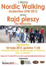 I Marsz Nordic Walking studentów UTW 2013  oraz rajd Pieszy do Miłocina